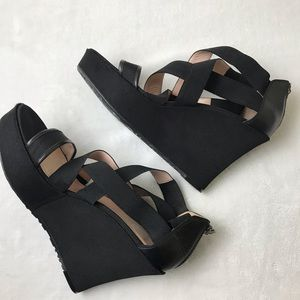 Taryn Rose Black Strappy Platform Heel Wedges